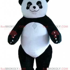 Maskot Panda, nafukovací kostým, černobílý medvěd -