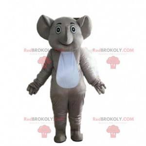 Šedý a bílý slon maskot, tlustokožec kostým - Redbrokoly.com
