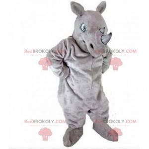 Mascota de rinoceronte gris, traje de rinoceronte, savannah -