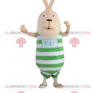 Maskot králíka s pruhovaným oblečením, plyšový zajíček -