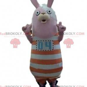 Mascotte di coniglio con un vestito a strisce, coniglietto di