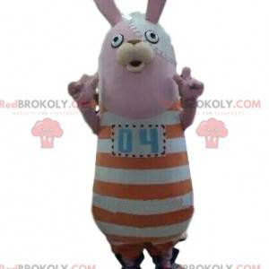 Rabbit mascot with a striped outfit, plush bunny -