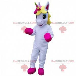 Maskot bílý a růžový jednorožec, víla kostým - Redbrokoly.com