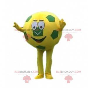 Žlutý a zelený fotbalový míč maskot, fotbalový kostým -