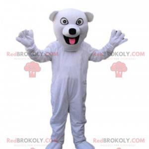 Hvit hundemaskot, kenneldrakt, SPA-maskot - Redbrokoly.com