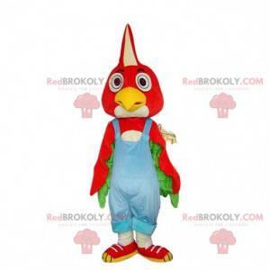 Maskot červený pták, kuřecí kostým, červený pták -