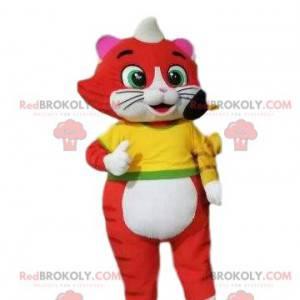 Czerwony i biały kot maskotka, kostium kotka - Redbrokoly.com
