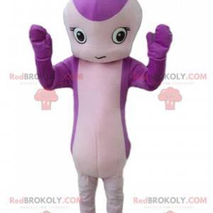 Mascota serpiente, criatura púrpura, flor gigante -
