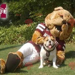 Brun bulldog maskot i sportsklær - Redbrokoly.com