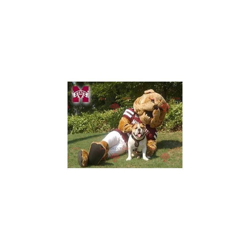 Brown Bulldog Maskottchen in Sportbekleidung - Redbrokoly.com
