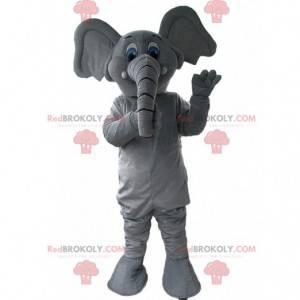 Graues und weißes Elefantenmaskottchen, Dickhäuterkostüm -