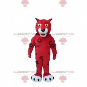 Maskot červený a bílý tygr, červený kočičí kostým -