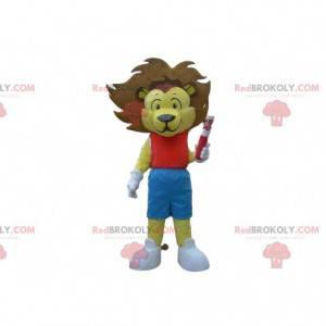 Yellow lion mascot, lion cub costume, king costume -