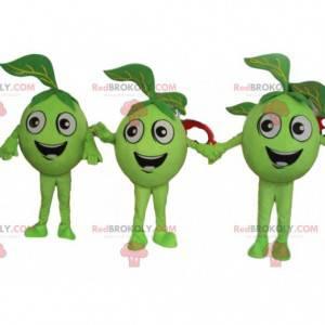 3 green apples, green fruit mascots, giant olives -