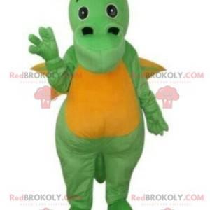 Zielony i żółty smok maskotka, kostium dinozaura -