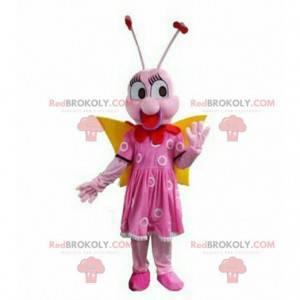 Růžový motýl maskot, létající hmyz kostým, růžový -