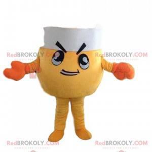 Mascota de cangrejo amarillo con gorro de chef, disfraz de