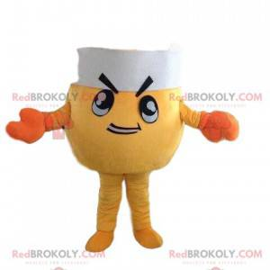 Mascote caranguejo amarelo com chapéu de chef e fantasia de