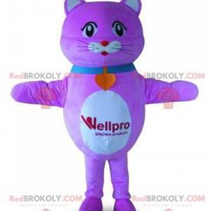 Purple and white cat mascot, pink cat costume - Redbrokoly.com