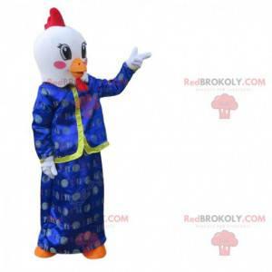 Maskot kohout, bílý pták v asijských šatech - Redbrokoly.com