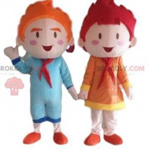 2 mascots of children, dolls, a boy and a girl - Redbrokoly.com