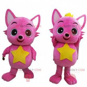 2 Maskottchen von rosa Katzen, 2 Katzen, 2 farbige Füchse -