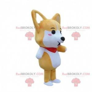 Brown and white dog mascot, fox costume - Redbrokoly.com