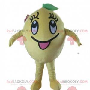 Yellow lemon mascot, citrus costume, fruit disguise -