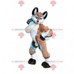 Maskot Fox s barevným kabátem, kostýmem psa, husky -