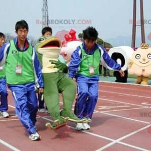Maskotka zielona i biała żaba - Redbrokoly.com