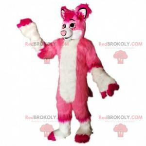 Maskot růžové a bílé lišky, kostým chlupatého psa -