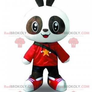 Svart og hvit panda maskot kledd i ungt antrekk - Redbrokoly.com