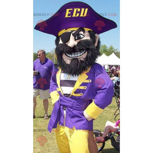 Pirate mascot in blue and yellow outfit - Redbrokoly.com