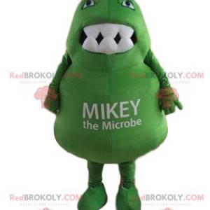 Green microbe mascot, monster costume, giant bacteria -