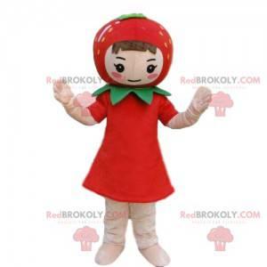 Dívka maskot s jahodou na hlavě, jahodový kostým -