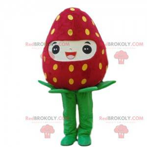 Obří a usměvavý jahodový maskot, kostým z červeného ovoce -