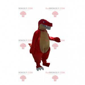 Maskot červený a žlutý dinosaurus, kostým obří drak -