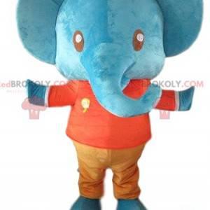Maskotblå elefant, gigantisk og fargerik elefant -