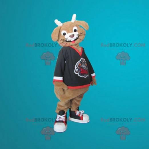 Brązowy i biały królik maskotka uśmiechnięty - Redbrokoly.com