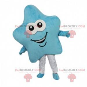 Maskot modrá hvězda, usmívající se hvězdný kostým -