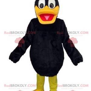 Černá a žlutá kachna maskot, kachna kostým, pták -