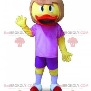 Kachní maskot s vlasy. Žena kostým - Redbrokoly.com