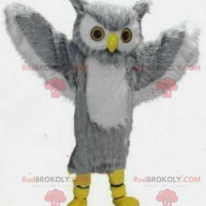 Maskot obří šedé a bílé sovy, kostým sovy - Redbrokoly.com