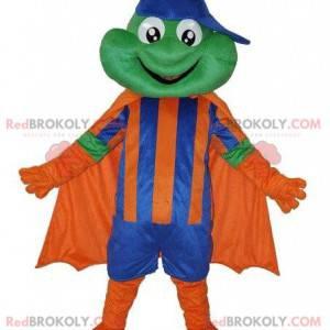 Maskot žába v kostýmu superhrdiny, kostým hrdiny -