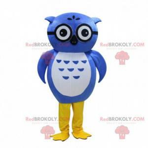 Niebieska sowa maskotka w okularach, niebieski kostium ptaka -