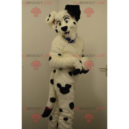 Černá a bílá pes dalmatin maskot - Redbrokoly.com