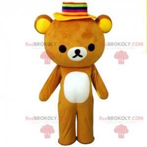 Bärenmaskottchen mit buntem Hut, Teddybärkostüm - Redbrokoly.com