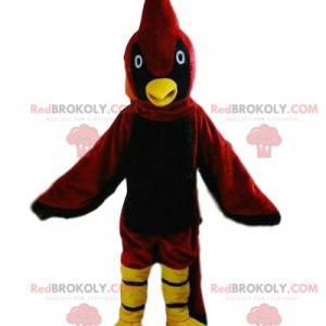 Czerwony i żółty ptak maskotka, kolorowy kostium ptaka -