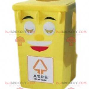 Yellow trash mascot, garbage dumpster costume, recycling -