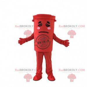 Maskot červený koš, kostým popelnice, recyklace - Redbrokoly.com